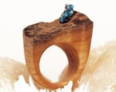 Hand made wooden ring with turquoise pyrite raw stone Organic jewelry/raw gemstone/ unique jewelry/one of a kind
