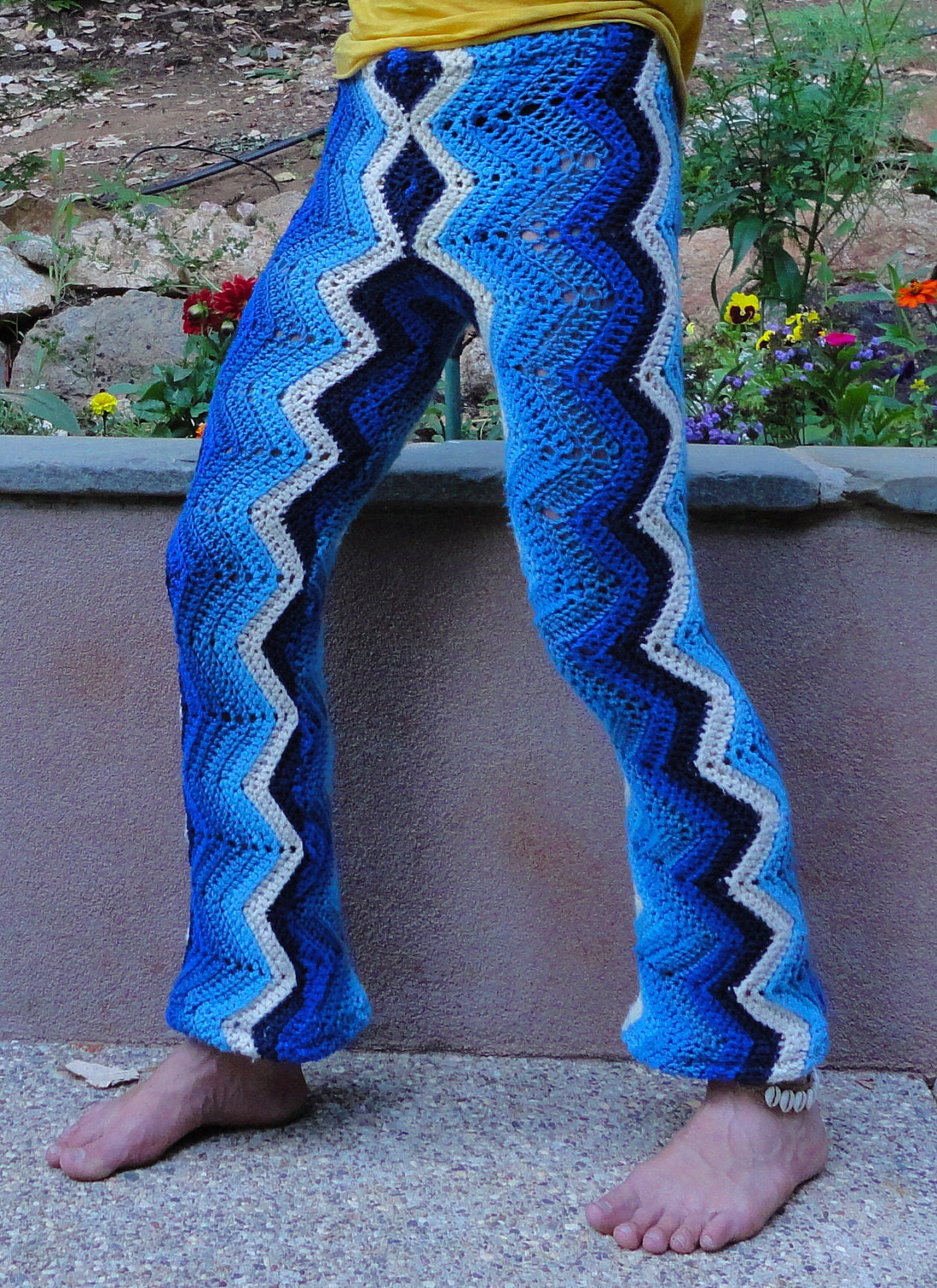 Crochet Pants : Deep Indigo Funky Crochet Afghan Pants 100% by LordvonSchmitt