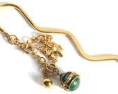 On Sale bookmark repurposed Joan Rivers beads -  beaded green gold charms metal gold plated - ooak