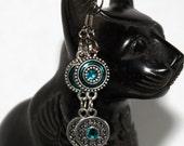 beaded metal earrings teal blue dangle drop - unique handmade jewelry