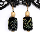beaded earrings black alabaster teal accent glass dangle drop unique