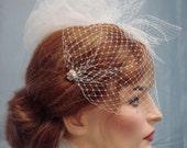 Bandeau Birdcage Veil, Crystals, Pearls, Rhinestones, Bridal Veil, Weddings, Paris Chic, Retro Weddings
