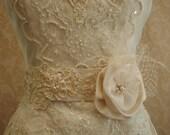 Floral Lace Sash Belt, Weddings, Ivory Beaded Vintage Lace Sash, Feathers, Rhinestones, Bridal Sash