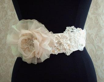 Ivory Beaded Bridal Sash, Vintage Beaded Lace Bridal Sash, Weddings, Shabby Chic Floral Sash, Rhinestone Bridal Belt, Crystals, pearls
