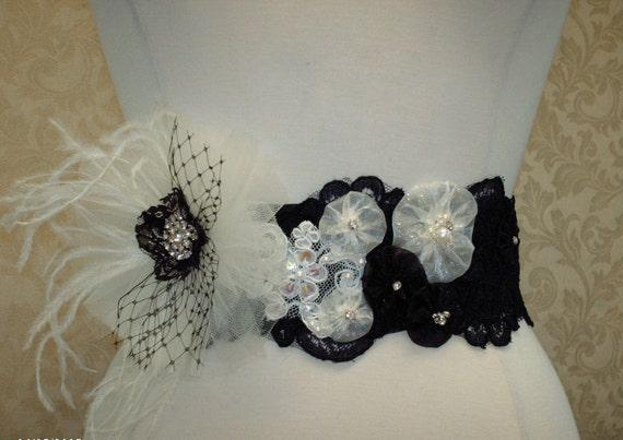 Wedding bridal sash rhinestone beaded black lace sash white and