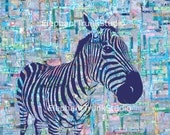 "Abstract zebra art print with colorful background, 8x10 ""Zoe"""