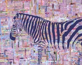 "Abstract zebra art print,8x10, ""Zelda"" with colorful pink background"