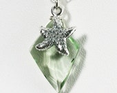 SALE 50% OFF Green Amethyst and Starfish Necklace