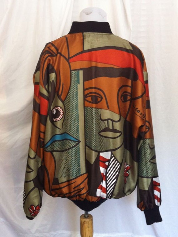 REVERSIBLE Vintage Silk Jacket-Asian Elephants or Picasso Print