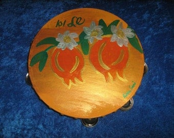"""Pomegranate hand painted Tambourine 10 """"inch"""