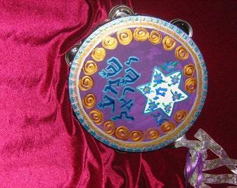 """Shema Tambourine Deut 6:4/ 10"""" inch hand painted Tambourine"""