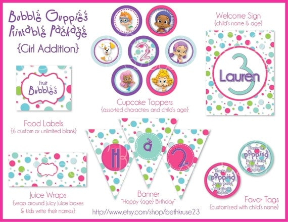 Girl bubble guppies printable party including invite - Bubble guppies birthday banner template ...