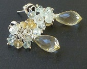 Scapolite, aquamarine, moonstone, citrine and silver rose earrings
