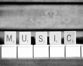 Spell Music- black and white photography print-piano keys, scrabble-silver, gray, grey-Home/Music Studio Decor, Wall art, Pianist Gift