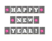 Happy New Year DIY Bunting Project, Printable PDF Stars & Stripes, Pink, Yellow