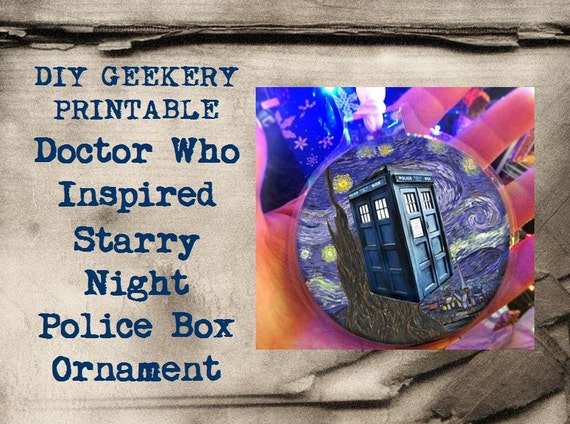Starry Night Christmas Ornament, Doctor Who Inspired, DIY Geekery Printable Project, Sci Fi Paper Crafts, Blue Police Box