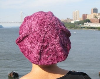 Purple-plum cabled tam