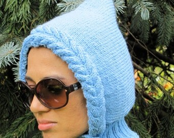 Urban Pixie - hood with collar in sky  blue