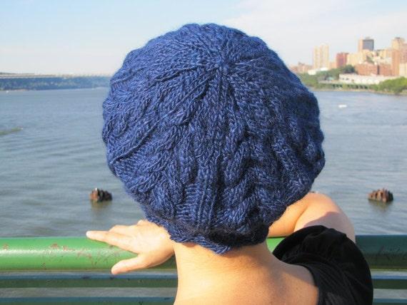 Blue cabled beret