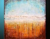Original Abstract Painting 30x30 Canvas Modern Acrylic Shore Beach Fine Art by MARIA FARIAS