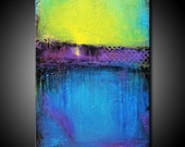 24x36 Abstract Painting MADE TO ORDER Textured Urban Modern Original Canvas Blue Teal Purple Fine Art by Maria Farias