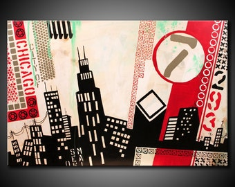 Chicago City MADE TO ORDER Original Abstract Painting Urban Acrylic Modern 24x36 Canvas Black Teal Red Fine Art by Federico Farias