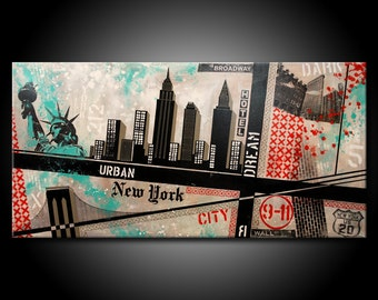 New York City MADE TO ORDER Painting Acrylic 48x24 Canvas Modern Red, Black & Teal or Blue Urban Abstract Fine Art by Federico Farias