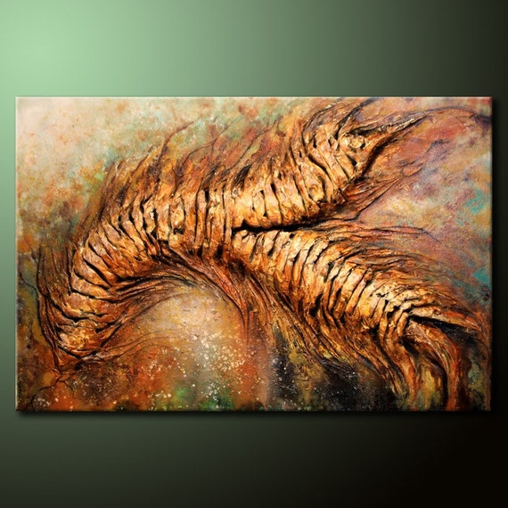 ORIGINAL Abstract Painting TEXTURED Mixed Media Acrylic 24x36 Canvas Brown & Green Fine Art by Federico Farias