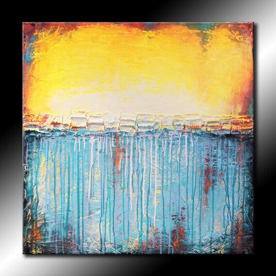 Original Abstract Painting 30x30 Canvas Modern Acrylic Sea Shore Beach Blue Yellow Fine Art by MARIA FARIAS
