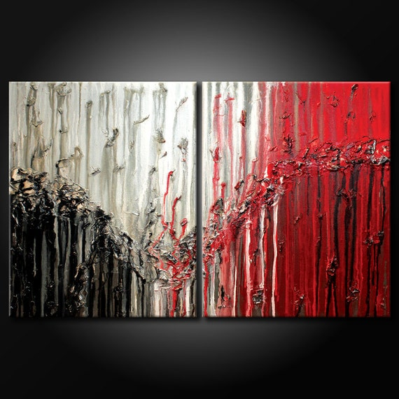 Modern Abstract Painting ORIGINAL 24x36 Canvas Red, White & Black Urban Acrylic Fine Art by MARIA FARIAS