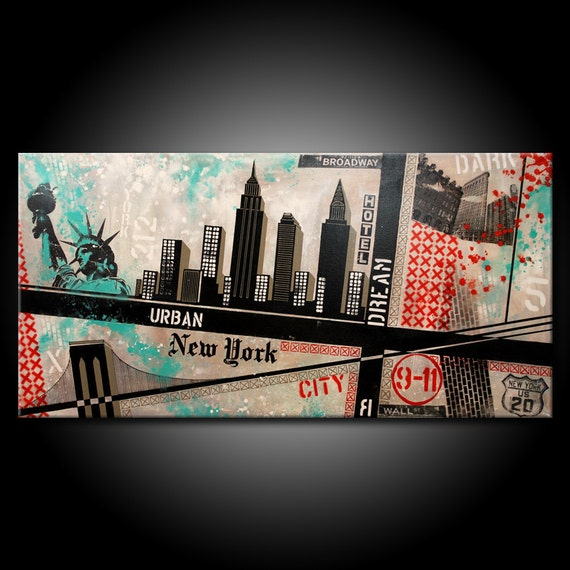 Original New York City Painting Acrylic 48x24 Canvas Modern Red Black & Teal Urban Abstract Fine Art by Federico Farias