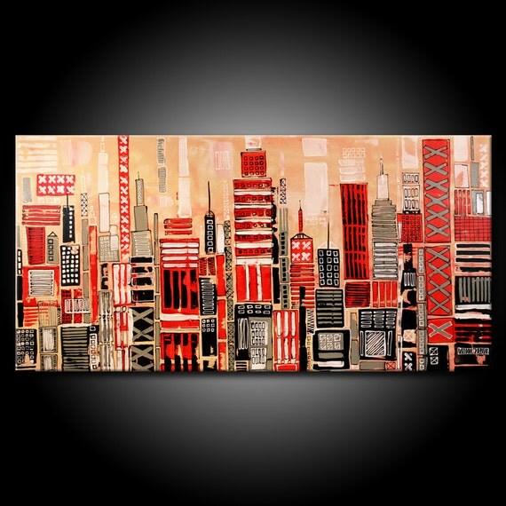 Modern URBAN Abstract Painting ORIGINAL 48x24 Canvas Acrylic Black Grey Red City Fine Art by Federico Farias