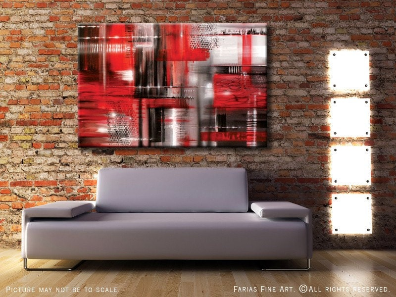 modern acrylic abstract painting original red white black