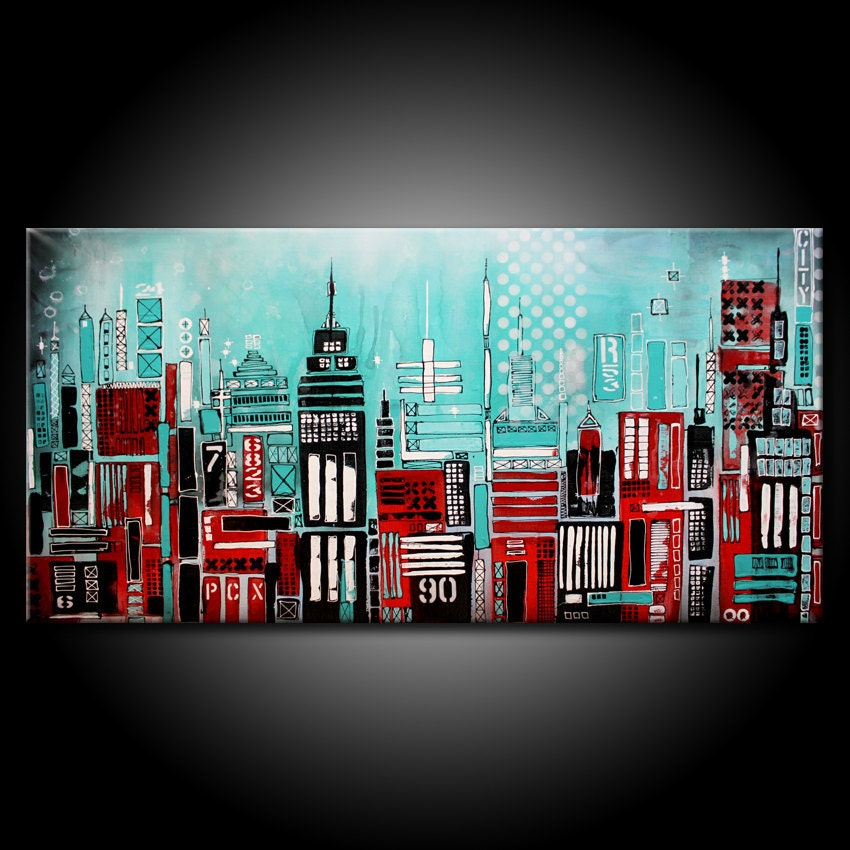 Modern Urban City Abstract Painting Original 48x24 Canvas