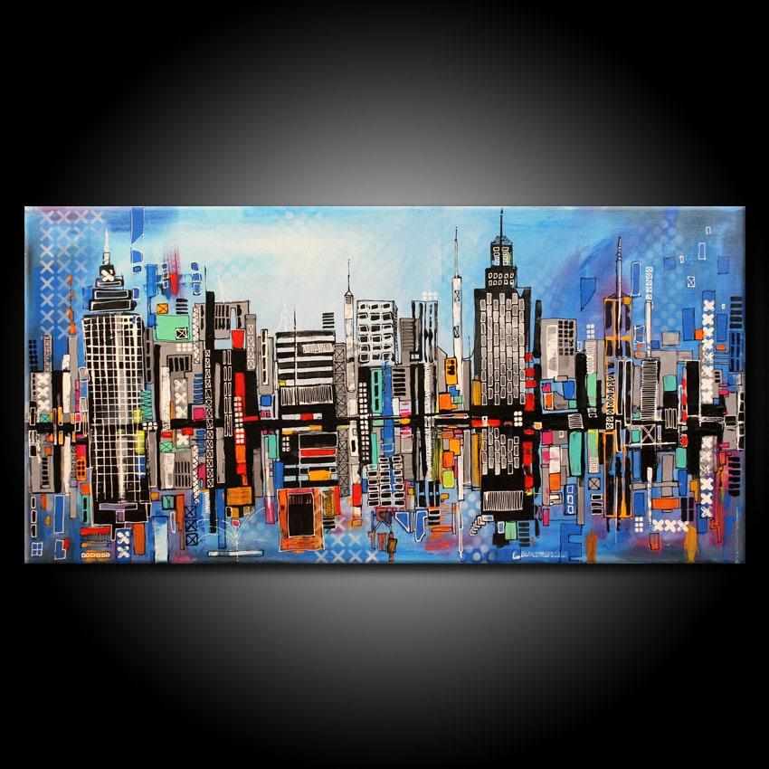 Modern URBAN City Abstract Painting ORIGINAL 48x24 Canvas