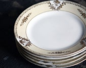 Vintage Noritake Gold and White Dessert Plates, Bread and Butter Plates, Fine China - Made in Japan - Set of 5
