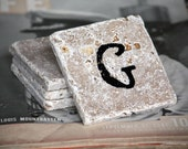 Personalized Coaster Set - Natural Tumbled Marble Home Decor Accessory Gift Wedding, Engagement, Housewarming BLACK Friday CYBER Monday