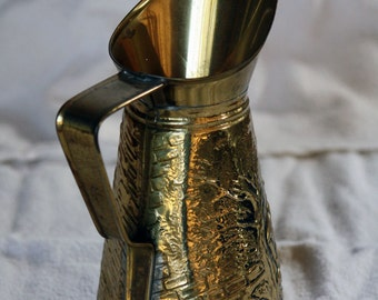 SALE Vintage Peerage Brass Pitcher Made in England, Embossed Handcrafted Vase Coffee Water Pitcher