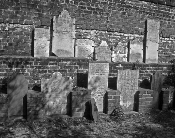 Savannah's Gravestones - Fine Art Photograph - FREE SHIPPING Spooky Black and White, Gray Wall Home Decor