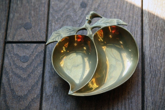 SALE Vintage Solid Brass Apple Dish - Great Gift for Teacher, Desk, Trinket Tray, Keys, Candy, Coins, Jewelry
