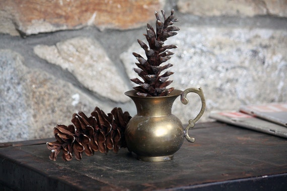Vintage Brass Vase with Handle - Simple, Rustic Home Decor