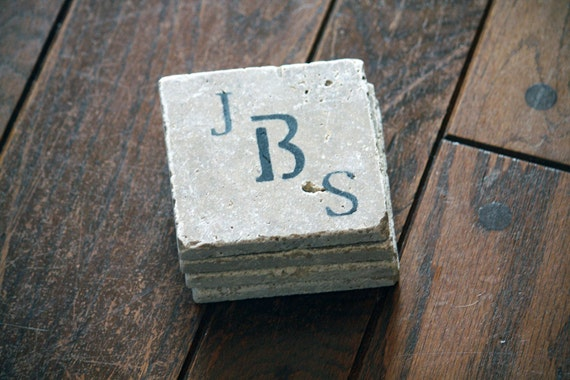 Personalized Coasters for Couple, Initials, Monogram - Set of 4 Marble Custom Gift for Engagement, Wedding, Housewarming, Custom Handmade