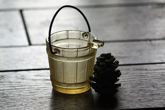RESERVED - Vintage Yellow Glass Bucket Ashtray, Amber, Metal Handle - Collectible