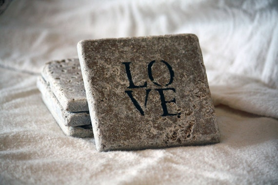 LOVE Natural Tumbled Marble Handpainted Coaster Set - Unique and Rustic Home Decor - Handmade Customizable Valentines Day For Her Gift