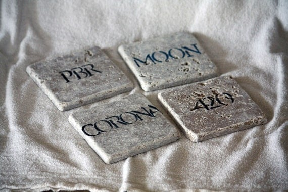 Custom Coasters, Personalized Choose Favorite Beers, Wine, Etc. Man Cave Mothers Day Set of 4 Natural Tumbled Marble Rustic Home Decor Gift