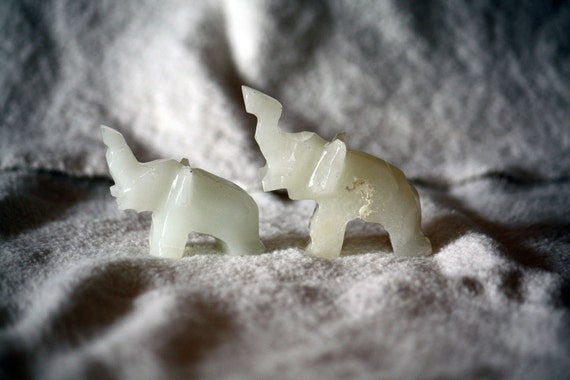 Vintage Carved Elephant Pair, Small Set of Two White Marble Solid Stone Miniature Figurine Good Luck FREE SHIPPING