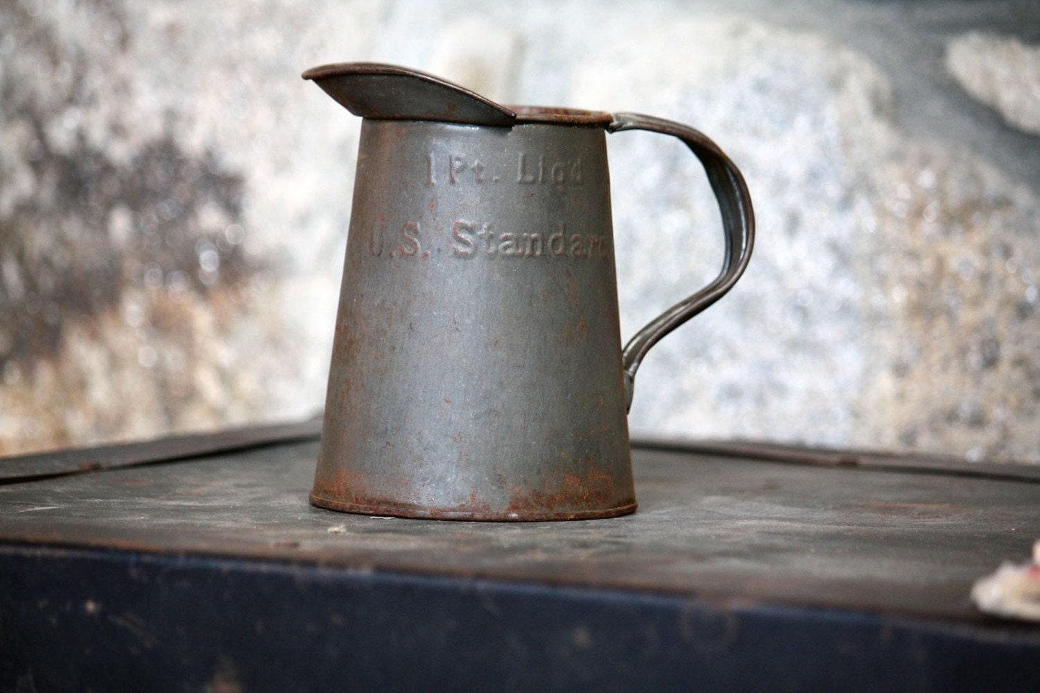 Vintage Metal Pitcher With Wide Spout Rustic Home Decor 1