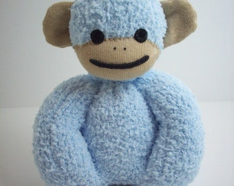 Baby safe sock monkey stuffed plush toy in blue and tan, sock monkey toy for babies and toddlers, monkey nursery, baby shower gift idea