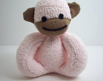 Baby's first sock monkey child safe plush stuffed toy in pink and brown, sock monkey for babies and toddlers, newborn baby toy, baby shower
