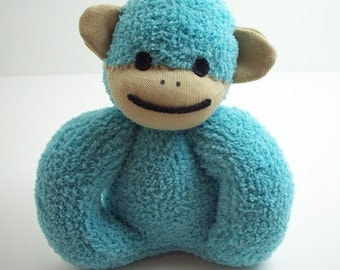 Baby safe sock monkey toy in teal and tan, gift for newborn and toddlers, baby safe stuffed toy monkey, gender neutral baby shower gift